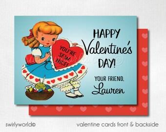 Vintage Girl Valentine Cards, Digital Printable 1950s Retro Valentine Cards, Digital Valentine Cards, Digital Girls Valentine DIVAL64
