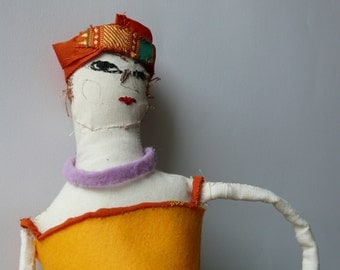 Elegant turban-wearing Lady art doll - OOAK handmade original design cloth doll