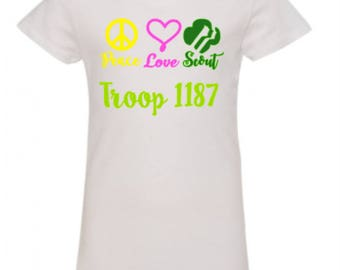 Peace Love Scout Shirt, Girl Scout Shirt, Girl Scout Troop Shirt
