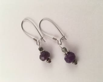 Amethyst and pyrite earringd