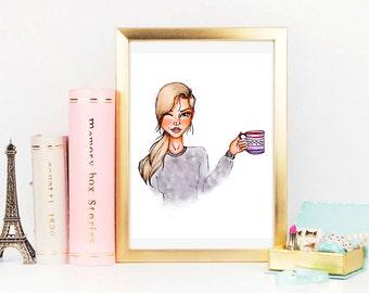 Fashion Illustrarion: Morning Coffee