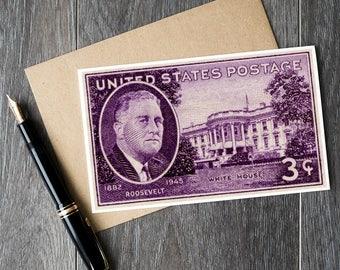 President Roosevelt, FDR, Franklin Roosevelt, White House, Presidents Day, US Presidents, White House card, White House poster, US Postage