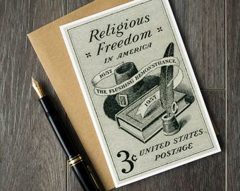 Religious Freedom, freedom of religion, US history, US democracy, US politics, unique greeting, vintage greeting, history cards, history art