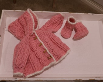 Pink Hooded Crochet Cardigan with Booties for 0 to 3 months old.