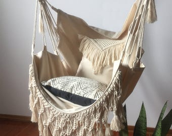"Hammock Chair with Macramé Fringe-""Serenity"""