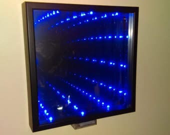 Led Infinity Mirror electric blue 13in x 13in Battery Powered