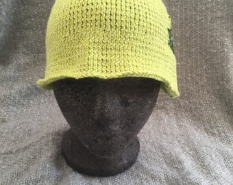 Hand knitted cotton/silk cloche