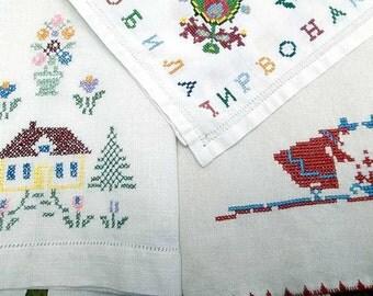3 Vintage White Linen Kitchen Tea Guest Hand Towels Folk Art Hand Embroidered Red Blue on White Kitchen Towel Lot