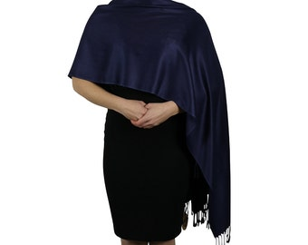 Navy Dark Blue Ladies Pashmina Scarf Wrap Shawl Stole - Tassel Finishing - Handmade