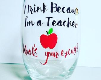 16 oz Wine Goblet for Teacher