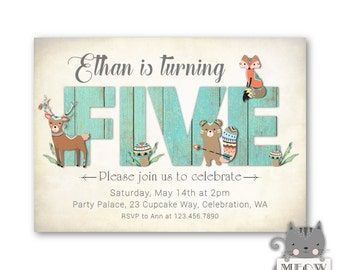 Boy's 5th Birthday Invitations / Woodland Birthday Party Invites / Boy's Woodland invitations / Tribal Animals / Turning 5 / no.166