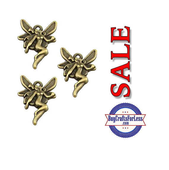 SALE** Flying Fairies  Charms, Bronze, 8 pcs  +Discounts & FREE Shipping*