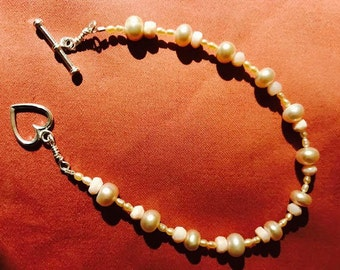 Larger size, Pretty pink freshwater pearls, seed pearls, Peruvian Opals, sterling silver heart toggle woman's artisan bracelet QB37