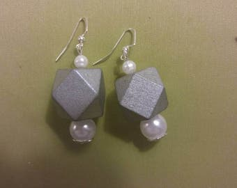 Silver wooden and pearl dangle earrings