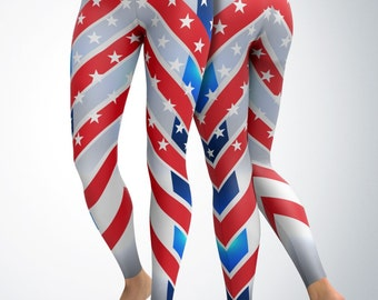 Leggings / Yoga Pants - USA (gray) Leggings