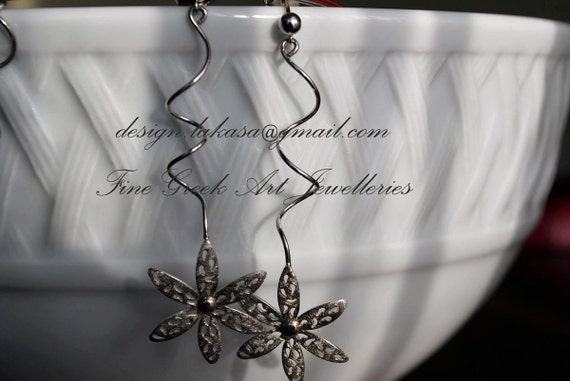 Flower Earrings Sterling Silver Handmade Jewelry Fine Greek Art for her Birthday Woman Anniversary holidays Best Gift Idea Floral Design