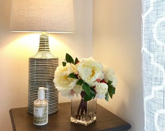 Clearance - Faux Cream Peonies in Glass Vase