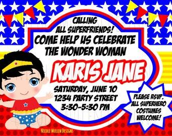 Wonder Woman Birthday Invitation - Printable CUSTOM Birthday Invitation - Wonder Woman Theme - Baby Girl Birthday -  Wonder Woman Baby
