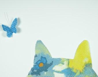 Blue Cat Handmade Fabric Card