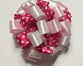 Pink Polka Dot Loopy Puff Bow