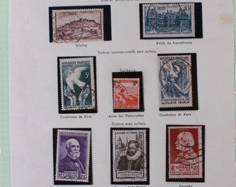 Vintage French Stamp Collection from 1946