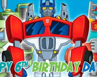 Transformers Rescue Bots Birthday Banner/Backdrop