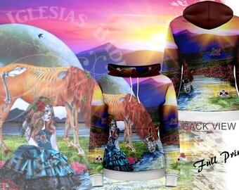 La Bella Muerta - Womens Pullover Fullprint Hoodie - Day of the Dead