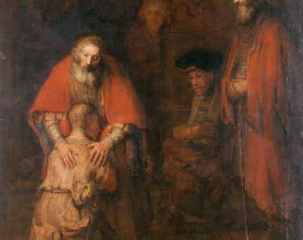 Rembrandt : The Return of the Prodigal Son (1663) Canvas Gallery Wrapped Wall Art Print