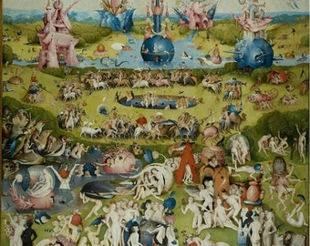 Hieronymus Bosch : Garden of Earthly Delights (Center Piece) (1490) Canvas Gallery Wrapped Wall Art Print