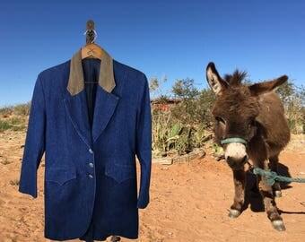 Denim Western Jacket, Pioneer Look Blazer, Vintage Southwestern Blazer, Western Jacket, Suit Jacket, Red River, Medium
