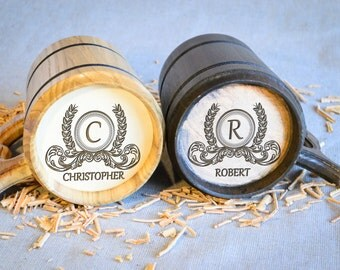 Wooden mugs, Personalized Set of Beer mugs, Wood cup, Wedding Wooden Mug, Wooden beer mug, large wooden mug, wooden mug with metal inside