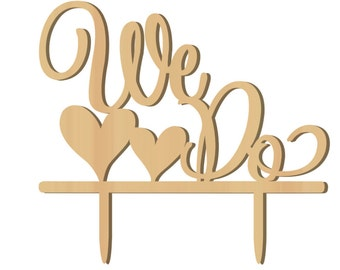 """1 """"We Do"""" Rustic Wood Cake Topper, Cake Topper, Anniversary, Wedding, Wedding Supplies, Party Supplies, Rustic Decorations, Rustic, Party"""