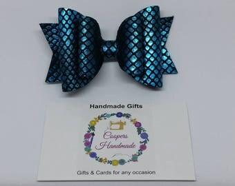 Double Blue Hair Bow
