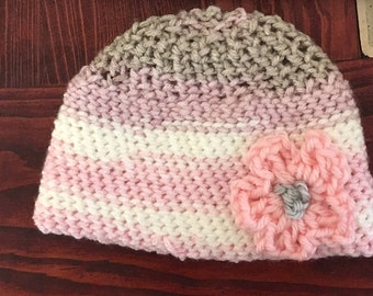 Crocheted Baby Hat with Flower