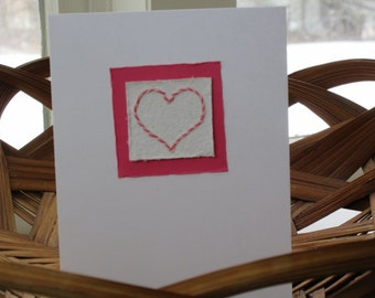 ValentineHeartPinkSweetheartLoveEmbroideredArtisanPaperNotecardCharmingSimpleSweetCandystripe