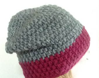 Gray & Red Sloutchy Hat