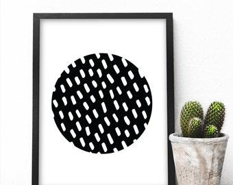 ABSTRACT CIRCLE ART | Modern Home Decor, Geometric Art, Black and White, Scandinavian Decor, Abstract Art, Wall Decor, Wall Art,