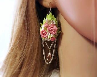 Swarovski Bridal Earrings, Crystal Earrings, Wedding Earrings, Flowers Earrings, Rose Earrings, Cold Porcelain Earrings, Luxury Earrings