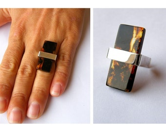 Geometric Amber Ring, Baltic Amber Jewelry, Sterling silver Ring , modern fashion