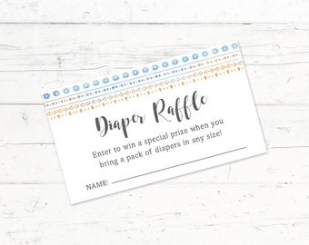 Tribal Blue/Orange Baby Shower Diaper Raffle Ticket, Printable Diaper Raffle Ticket, Digital Download