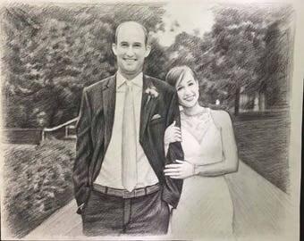 Custom Pencil Portrait, Custom Portrait Drawing, Couples Portrait Painting, Unique Gifts for Women, Personalized Portrait, Family Portrait