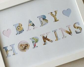 Beatrix Potter Peter Rabbit nursery baby personalised frame