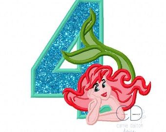 Mermaid Embroidery Design, Mermaid Applique Design, Litte Mermaid Embroidery Design, 4th Birthday Embroidery Design, Fourth Birthday Mermaid