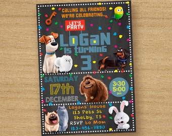 Secret Life Of Pets Invitation, Printable Secret Life Of Pets Birthday Party Invite, Pets Chalkboard Invitation, Secret Life Of Pets Invite