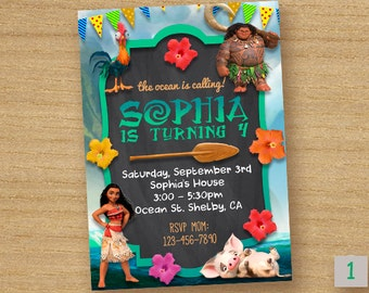 Moana Invitation Card, Moana Chalkboard Party, Disney Moana Invites, Princess Moana Custom Card, Personalized Moana Invitation Birthday