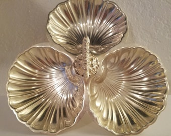 Vintage Silver Plate Relish Tray - Scallop Design - Markings DSD