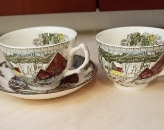 Johnson Bros The Friendly Village - The Ice House Two Flat Cups and One Saucer