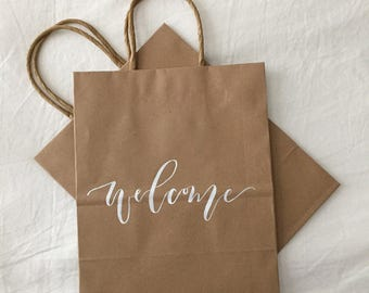Wedding Welcome Bags, Custom Gift Bags, Wedding Favors, Personalized Gift Bags, Hand Lettered, Calligraphy, Kraft Bags