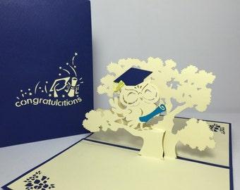 Graduation Owl - Pop Up Graduation Card - 3D Handmade Graduation Day Card - Congratulations Card - Good Luck Card- Pop Up Encouragement Card