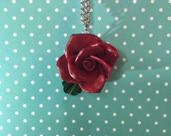 Blood Red Rose Necklace